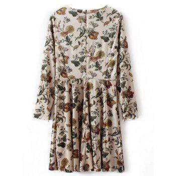 Long Sleeve Retro Floral Velvet Mini Dress - APRICOT L