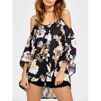 Buy Chiffon Cold Shoulder High Low Printed Blouse BLACK