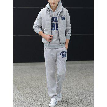 98 Lucky Printed Pullover Hoodie with Vest and Sweatpants