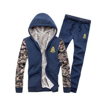 Zip Up Camo Sleeve Patch Hoodie and Sweatpants Twinset