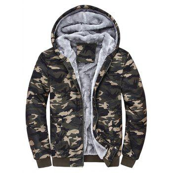 Thermal Zipper Up Camouflage Hoodie