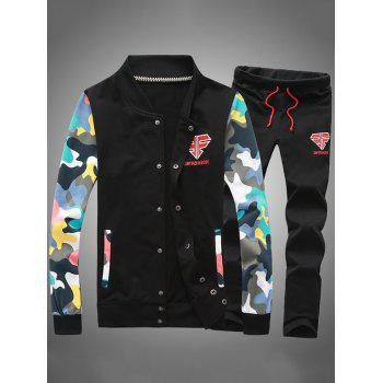 Button Up Camouflage Sleeve Jacket and Sweatpants Twinset - BLACK BLACK