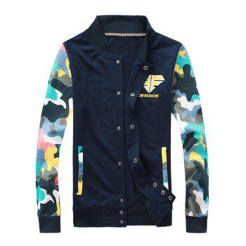 Button Up Camouflage Sleeve Jacket and Sweatpants Twinset - CADETBLUE M