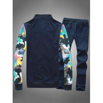 Button Up Camouflage Sleeve Jacket and Sweatpants Twinset - CADETBLUE S