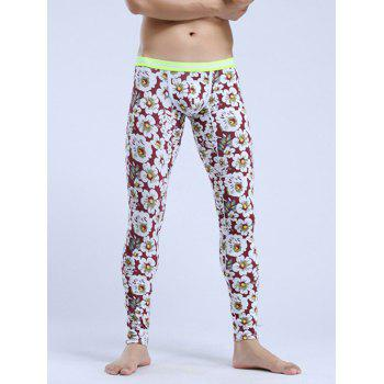 Floral Print Elastic Waist Thermal Long Johns