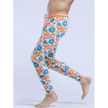 Low Rise Floral Print Thermal Long Johns WHITE