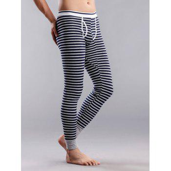 Striped U Contour Pouch Long Johns Pants