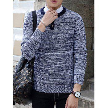 Buttons Design Crew Neck Knit Blends Long Sleeve Sweater