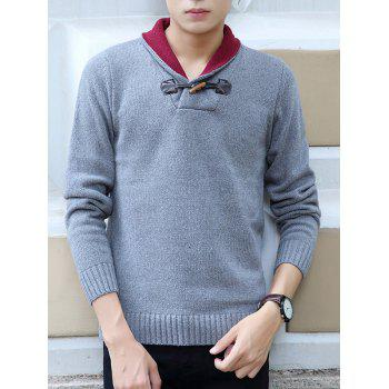 Horn Button Design Shawl Collar Long Sleeve Sweater