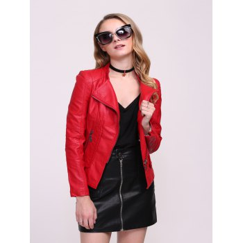 Faux Leather Fitted Biker Jacket