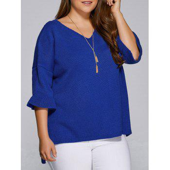Flare Sleeves High Low Hem V Neck Sweater