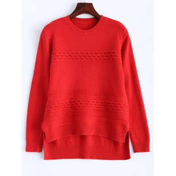 Ribbed High Low Knitted Sweater