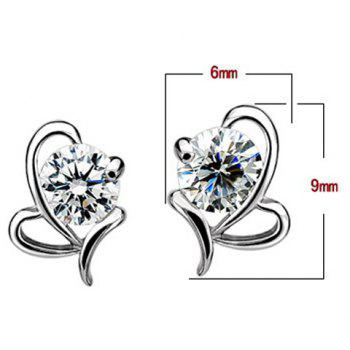 Fake Crystal Heart Shape Earrings - SILVER