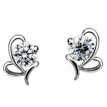 Fake Crystal Heart Shape Earrings