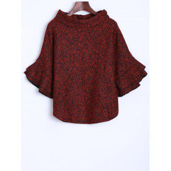 Knitted Turtleneck Poncho Sweater