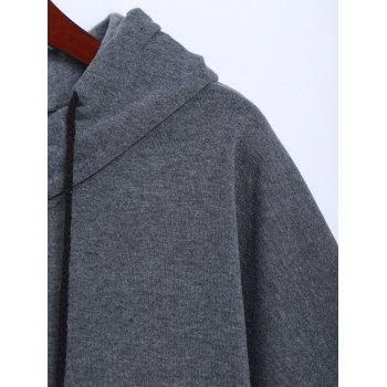 Pocket Pompon Hooded Poncho Cape - GRAY ONE SIZE