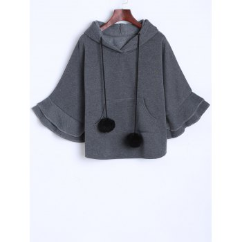 Pocket Pompon Hooded Poncho Cape