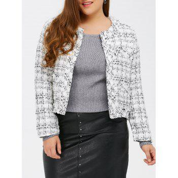 Plaid Plus Size Fringed Cropped Jacket