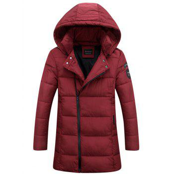 Buy Lengthen Hooded Thicken Oblique Zipper Design Coat RED