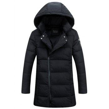 Lengthen Hooded Thicken Oblique Zipper Design Down Coat