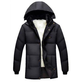 Plus Size Hooded Thicken Flocking Zip Up Down Coat