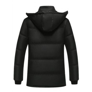 Plus Size Hooded Thicken Flocking Zip Up Down Coat - BLACK XL