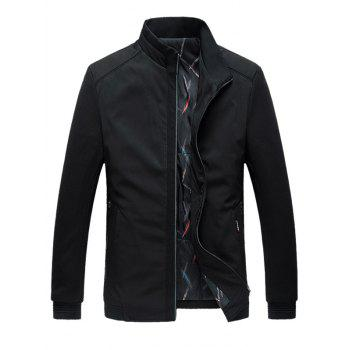 Stand Collar Warmth Padded Zip Up Plus Size Jacket