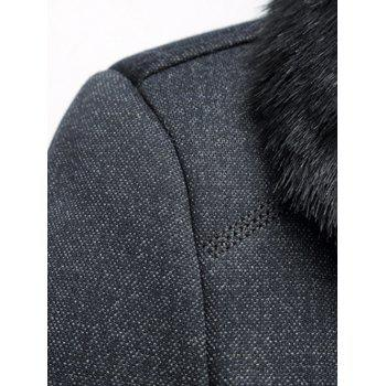 Thicken Faux Fur Collar Single Breasted Flocking Quilted Jacket - GRAY XL