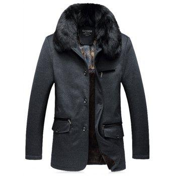 Thicken Faux Fur Collar Single Breasted Flocking Quilted Jacket