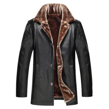 Buy Plus Size Faux Fur Collar Single Breasted Flocking PU Leather Jacket BLACK