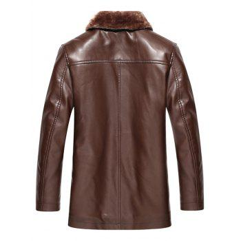 Plus Size Faux Fur Collar Single Breasted Flocking PU Leather Jacket - DEEP BROWN L