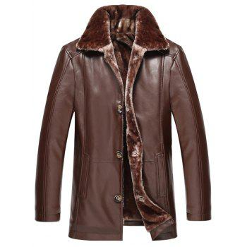 Plus Size Faux Fur Collar Single Breasted Flocking PU Leather Jacket