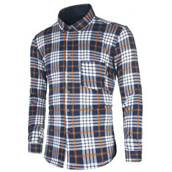Turndown Collar Tartan Print Flocking Shirt