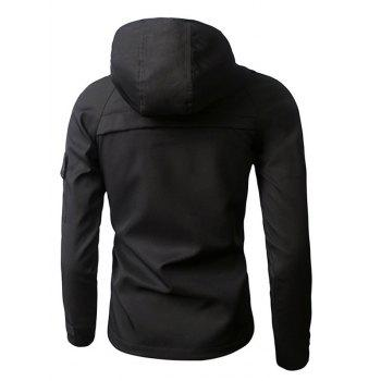Zipper Design Hooded Thicken Cotton Jacket - BLACK 2XL