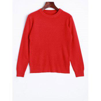 Crew Neck Wave Patter Knitted Sweater