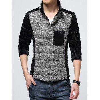 Texture Insert Pocket Stand Collar Padded Jacket