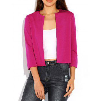 Open Front Plain Slimming Blazer