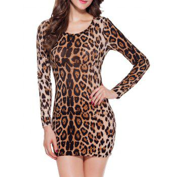 Long Sleeve Leopard Print Mini Bodycon Dress