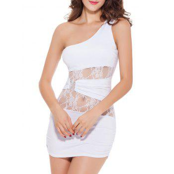 One Shoulder Lace Spliced Mini Bodycon Bandage Party Dress
