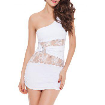 One Shoulder Lace Spliced ​​Mini Bodycon Bandage Party Dress - Blanc XL