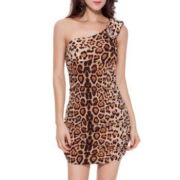 One Shoulder Leopard Short Club Bodycon Dress