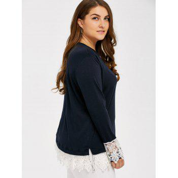 Lace Splicing Plus Size T-Shirt - DEEP BLUE 4XL