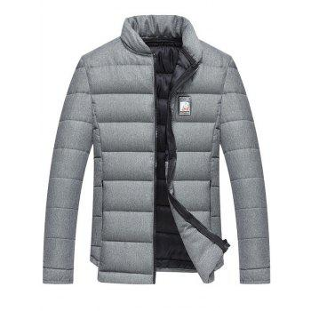 Stand Collar Applique Zip Up Cotton Padded Jacket