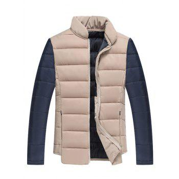 Stand Collar Color Block Splicing Zip Up Cotton Padded Jacket