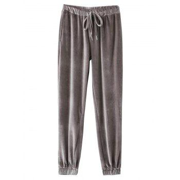 Velour Drawstring Sporty Pants