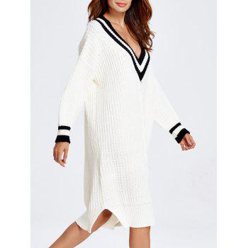 Cable Knit Cricket Midi Jumper Dress - WHITE ONE SIZE