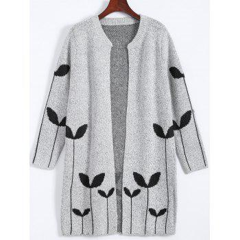 Graphic Plus Size Open Cardigan