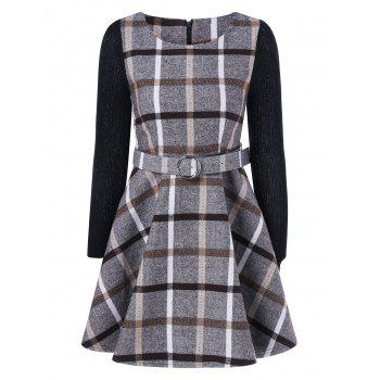 Grid Flare Dress With Belt