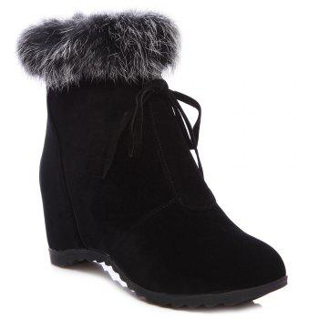 Hidden Wedge Faux Fur Trim Ankle Boots