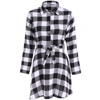 Checked Belted Shirt Dress
